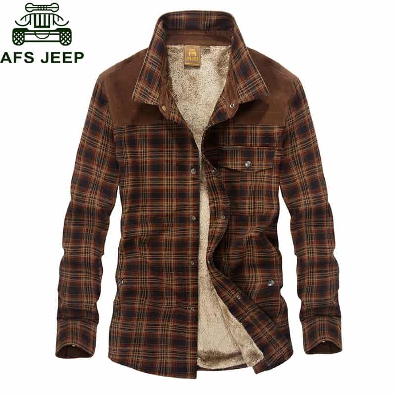 Afs Jeep Military Shirt Men Casual Shirts 100% Cotton Winter Wool ... f2f45e18481
