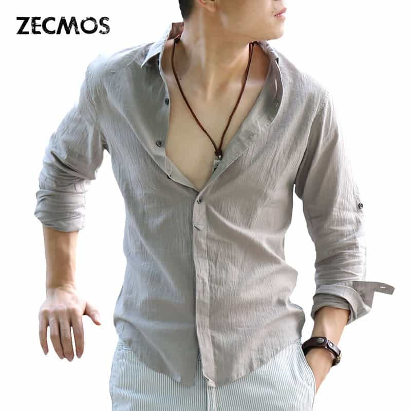d9164d94e8f9 Zecmos Cotton Linen Shirts Man Summer White Shirt Social Gentleman Shirts  Men Ultra Thin Casual Shirt British Fashion Clothes - BODAIGA