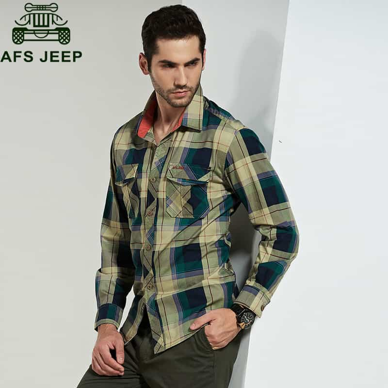 8323f4f54cf Afs Jeep Brand Shirt Men Casual Shirts 100% Cotton camisa masculina ...