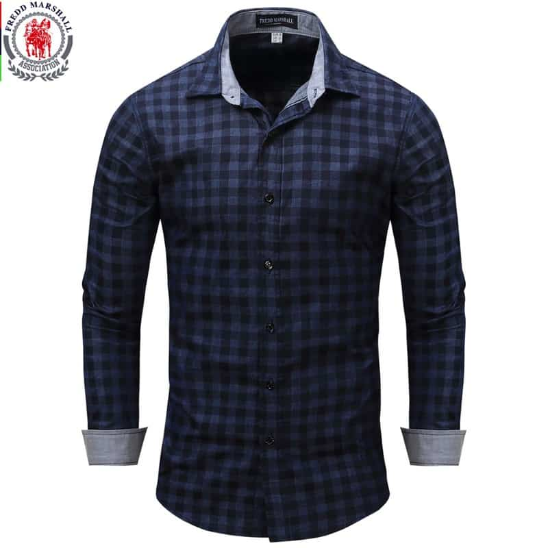 fbea383e145f2 New Arrival Men s shirt Long Sleeve Plaid Shirts Mens Dress Shirt ...
