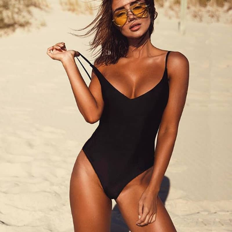 f0483ee61390d Sexy One Piece Swimsuit May Women Fused Swimwear Female Bather Solid ...